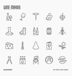 thin line wine and wine making icons vector image