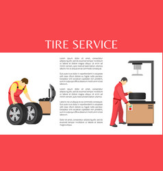tire service colorful banner of car garage vector image