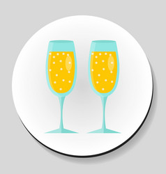 Two glasses of champagne sticker icon flat style vector