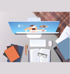 University student workplace elearning online vector