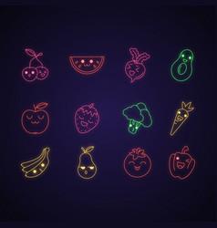 Vegetables and fruits cute kawaii neon light vector