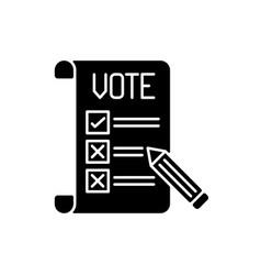 Voting ballot black glyph icon vector