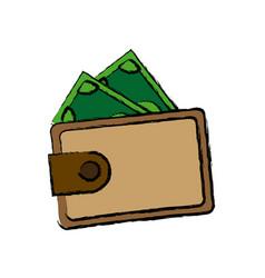 Wallet safe money dollar banknote concept vector