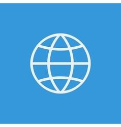 White globe icon on blue background vector image
