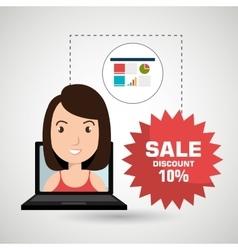 Woman sale shop online vector