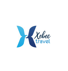 xebec travel x letter icon of travel agency vector image