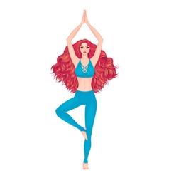 Yoga woman Pose Vrikshasana Girl Meditation vector image