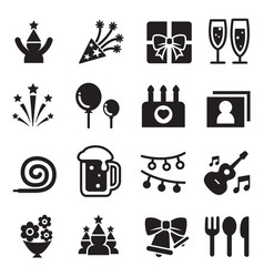 celebration party icon set vector image