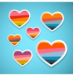 Colorful Abstract Hearts Set on Blue Background vector image vector image