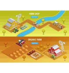 Farm Isometric Horizontal Banners vector image vector image