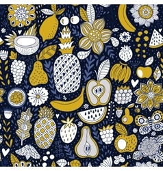 Fruit doodles seamless pattern hand drawn vector