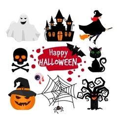 Happy halloween banner elements vector image vector image