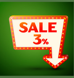 retro billboard with sale 3 percent discounts vector image vector image