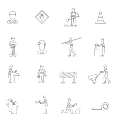 Road worker outline icon vector image vector image