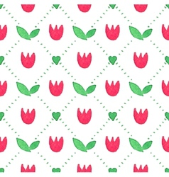 Seamless watercolor pattern with tulips on the vector image