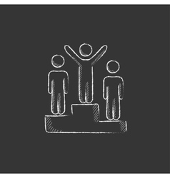 Winners on podium Drawn in chalk icon vector image