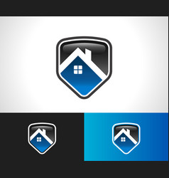 Home roof shield security icon vector