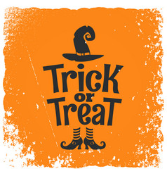 trick or treat halloween witch lettering vector image