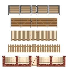 Wooden fences and gates vector image vector image