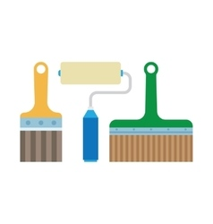 work tools - paint brush and roller vector image vector image