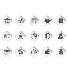 bank icons sticky series vector image vector image