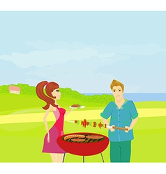Barbecue Party - cook and girl vector image vector image