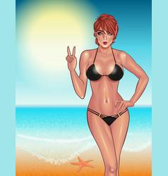 beautiful young woman in black bikini on the vector image