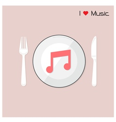 Creative music note sign on disk vector image vector image