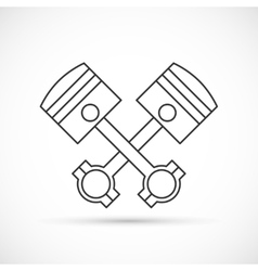 Crossed engine pistons outline icon vector image