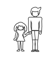 father and girl daughter together outline vector image vector image