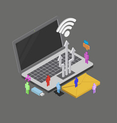 isometric people using internet around vector image vector image