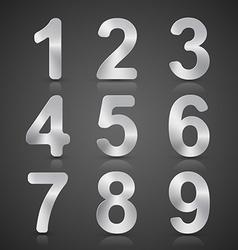 Metallic Silver Number Set vector image
