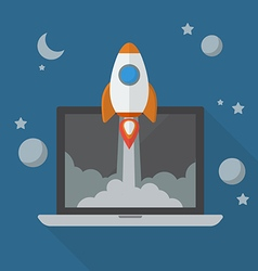 Rocket launching from laptop vector image