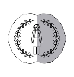 sticker arch of leaves with silhouette woman vector image vector image