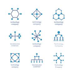 technology company logo set technological vector image vector image