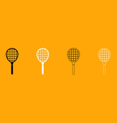 tennis racquet set black and white icon vector image vector image