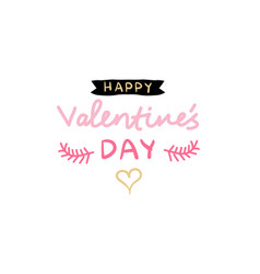 happy valentine day stamp text hand drawn love vector image