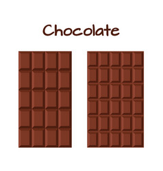Milky dark chocolate cacao product flat style vector