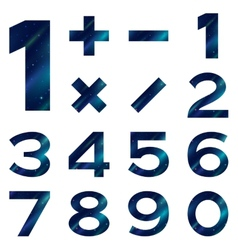 Numbers set blue space vector image vector image