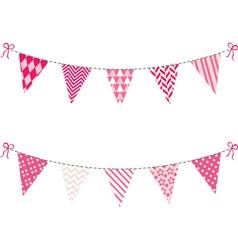 Pink Bunting Flag set vector image vector image