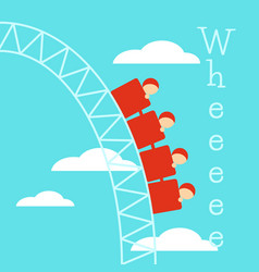 poster with roller coaster vector image vector image
