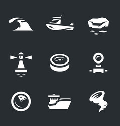 set of sea navigation icons vector image vector image