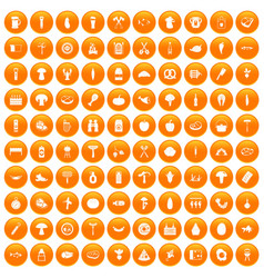 100 barbecue icons set orange vector
