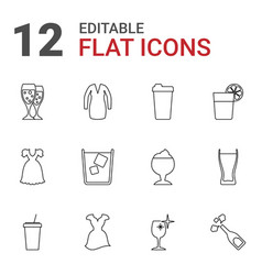 12 cocktail icons vector