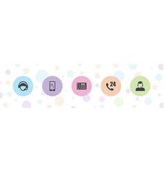 5 telephone icons vector