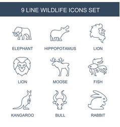 9 wildlife icons vector image
