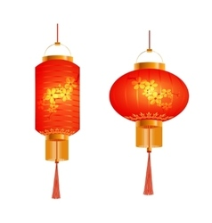 A set of orange chinese lanterns with cherry vector