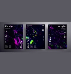 Abstract placard texture pack fluid art vector