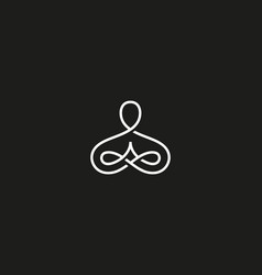 Abstract yoga human linear logo thread person vector