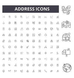 Address line icons signs set outline vector